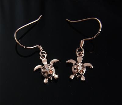 ROSE GOLD PLATED SILVER 925 HAWAIIAN PLUMERIA TURTLE DANGLE EARRINGS WIRE HOOK