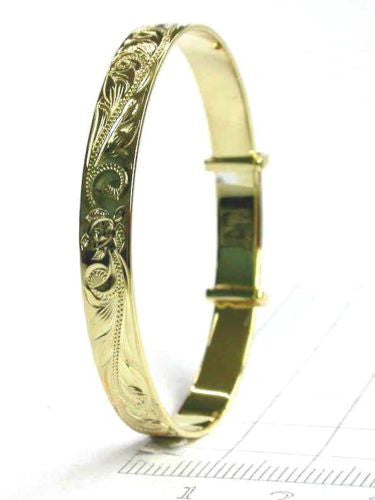 SILVER 925 HAWAIIAN BABY BANGLE BRACELET HONU TURTLE PRINCESS SCROLL YELLOW 6MM