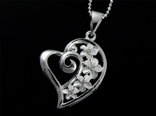 STERLING SILVER 925 SHINY HEART 4 HAWAIIAN PLUMERIA FLOWER PENDANT CZ