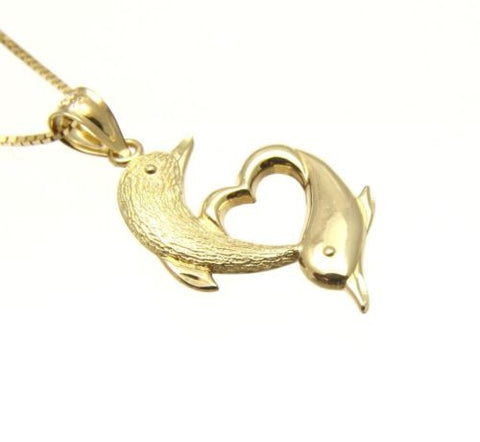 14K SOLID YELLOW GOLD HAWAIIAN DOLPHIN HEART DOLPHIN PENDANT CHARM 13MM