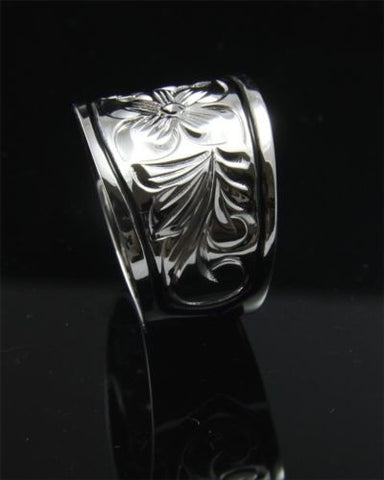 SILVER 925 HAWAIIAN RING PLUMERIA SCROLL 15MM TAPER BAND BLACK BORDER RHODIUM