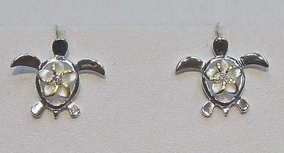 SILVER 2 TONE MEDIUM HAWAIIAN PLUMERIA IN HONU EARRINGS