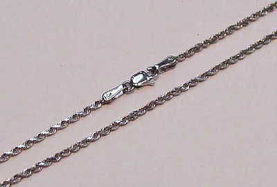 1.5MM SOLID 14K WHITE GOLD DIAMOND CUT ROPE CHAIN ANKLET 10""