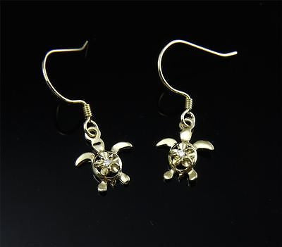 YELLOW GOLD PLATED SILVER 925 HAWAIIAN PLUMERIA TURTLE DANGLE EARRINGS WIRE HOOK
