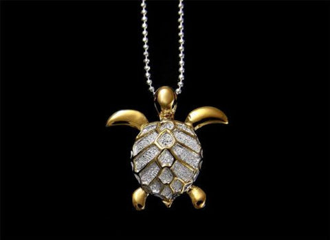 YELLOW GOLD PLATED STERLING SILVER 925 HAWAIIAN SEA TURTLE SLIDE PENDANT 19.5MM