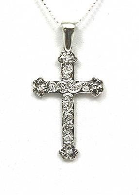 22MM SILVER 925 HAWAIIAN PLUMERIA QUEEN SCROLL CROSS PENDANT