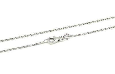 "1MM SOLID 14K WHITE GOLD SHINY ITALIAN BOX CHAIN NECKLACE LOBSTER CLASP 16""-24"""