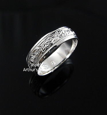 6MM STERLING SILVER 925 HAWAIIAN RING PLUMERIA SCROLL