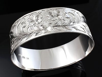 SILVER 925 HAWAIIAN BANGLE BRACELET PLUMERIA HIBISCUS MAILE SCROLL RHODIUM 25MM