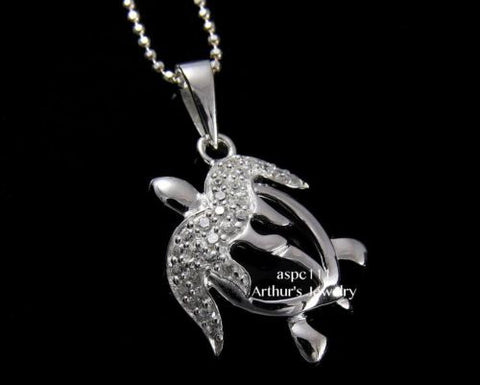 STERLING SILVER 925 HAWAIIAN SPARKLY CZ CUT OUT HONU TURTLE PENDANT