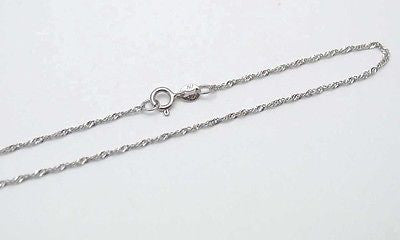 "14K SOLID WHITE GOLD SINGAPORE CHAIN ANKLET 10"" ONLY $42.99"