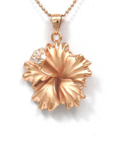 Rose Gold-plated Silver 25mm Hibiscus Flower Pendant