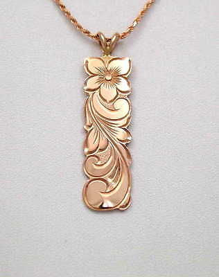 14K ROSE GOLD CUSTOM MADE HAWAIIAN 12MM PLUMERIA FLOWER SCROLL VERTICAL PENDANT
