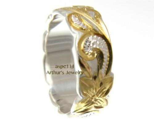 6MM SILVER 925 HAWAIIAN RING QUEEN SCROLL YELLOW GOLD PLATED 2 TONE SIZE 3 - 14