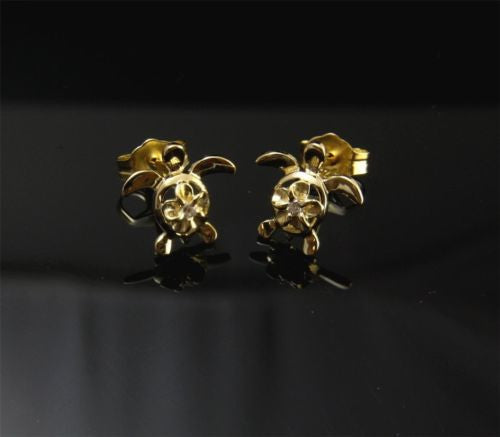 YELLOW GOLD PLATED SILVER 925 HAWAIIAN PLUMERIA TURTLE STUD POST EARRINGS CZ