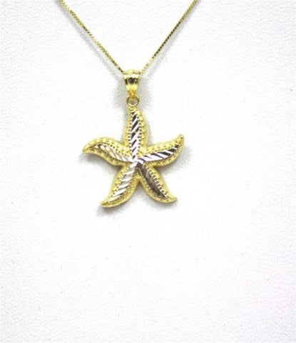 18MM 14K YELLOW GOLD HAWAIIAN OCEAN SEA STAR STARFISH PENDANT WHITE GOLD MEDIUM