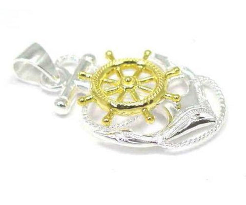 STERLING SILVER 925 HAWAIIAN SCROLL ANCHOR OF HOPE SHIP WHEEL PENDANT 2 TONE