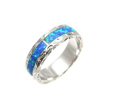 OPAL SILVER 925 HAWAIIAN HONU TURTLE ETERNITY WEDDING BAND RING RHODIUM UNISEX