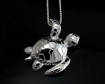 STERLING SILVER 925 HIGH POLISH SHINY 3D HAWAIIAN SEA TURTLE SLIDER PENDANT