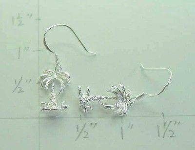SOLID 925 STERLING SILVER 3D HAWAIIAN PALM TREE DROP DANGLE EARRINGS WIRE HOOK