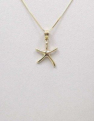 14K SOLID YELLOW GOLD SHINY POLISH HAWAIIAN SEASTAR STARFISH CHARM PENDANT SMALL