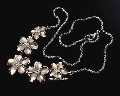 SILVER 925 5 HAWAIIAN PLUMERIA FLOWER NECKLACE RHODIUM PINK ROSE GOLD 2T LARGE