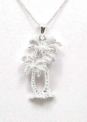 SILVER 925 HAWAIIAN SMALL & LARGE PALM TREE PENDANT