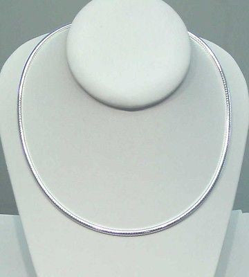 "3MM ITALIAN SOLID STERLING SILVER OMEGA CHAIN NECKLACE 16"" 18"" 20"""