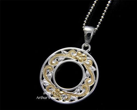 SILVER 925 HAWAIIAN CUT OUT PLUMERIA FLOWER SCROLL CIRCLE PENDANT 2 TONE YELLOW