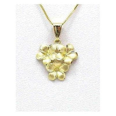 SOLID 14K YELLOW GOLD 9MM HAWAIIAN PLUMERIA FLOWER CLUSTER PENDANT
