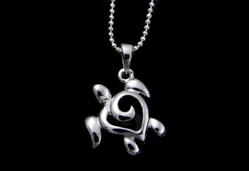 STERLING SILVER 925 SHINY HAWAIIAN HONU TURTLE PENDANT 14MM