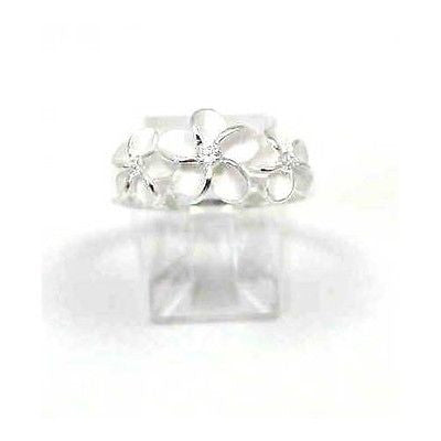 STERLING SILVER 925 HAWAIIAN 3 PLUMERIA FLOWER CLEAR CZ RING