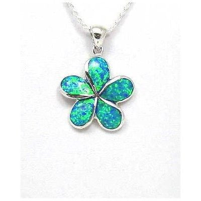 INLAY OPAL 24MM HAWAIIAN PLUMERIA FLOWER PENDANT SILVER