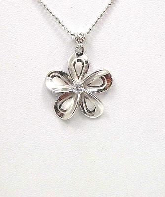SILVER 925 HAWAIIAN EXTRA FANCY PLUMERIA PENDANT RHODIUM  CZ 24MM