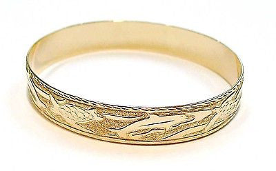 14K 12MM CUSTOM MADE HAWAIIAN TURTLE & DOLPHIN BANGLE