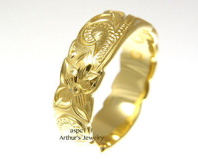 6MM YELLOW GOLD PLATED SILVER 925 HAWAIIAN RING PLUMERIA FLOWER SCROLL CUT OUT