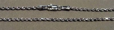 1.5MM SOLID 14K WHITE GOLD DIAMOND CUT ROPE CHAIN BRACELET 8""