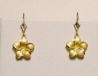 13MM SOLID 14K YELLOW GOLD HAWAIIAN PLUMERIA FLOWER DANGLE LEVERBACK EARRINGS
