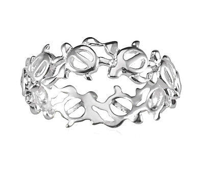 STERLING SILVER 925 HAWAIIAN CUT OUT HONU TURTLE LEI BAND RING SIZE 3-10