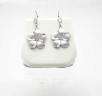 SOLID 14K WHITE GOLD HAWAIIAN PLUMERIA FLOWER DANGLING EARRINGS LEVERBACK 16MM