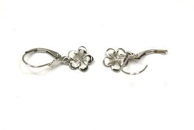 9MM SOLID 14K WHITE GOLD HAWAIIAN FANCY PLUMERIA FLOWER EARRINGS LEVERBACK