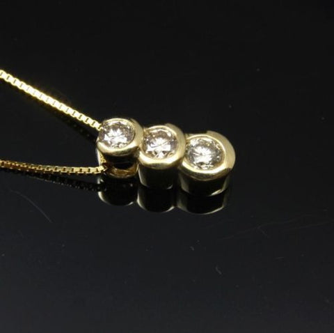 0.10CTW GENUINE DIAMOND PENDANT SOLID 14K YELLOW GOLD SMALL