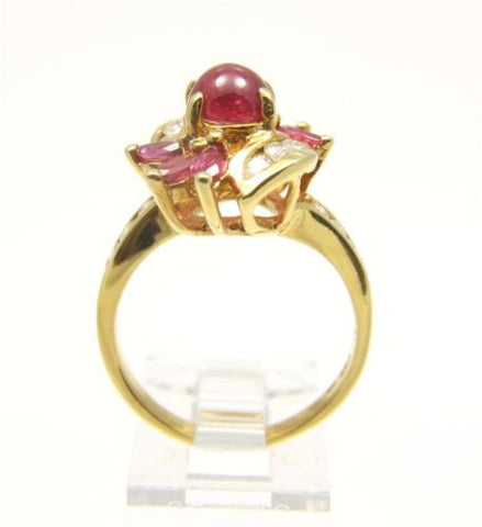 1.72CTW GENIUNE ROUND CABOCHON RUBY & DIAMOND RING SET IN SOLID 18K YELLOW GOLD
