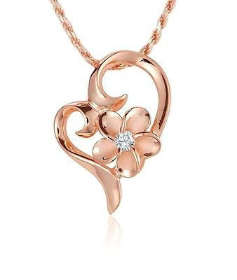 ROSE GOLD PLATED SILVER 925 HAWAIIAN 8MM PLUMERIA FLOATING HEART PENDANT CZ