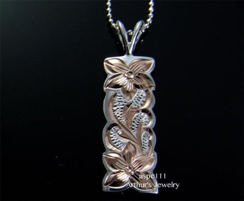 PINK 2T SILVER 925 HAWAIIAN PLUMERIA FLOWER QUEEN SCROLL VERTICAL PENDANT 10MM