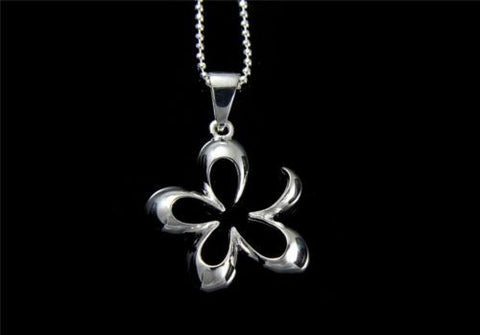 STERLING SILVER 925 SHINY CUT OUT HAWAIIAN PLUMERIA FLOWER OUTLINE PENDANT 19MM