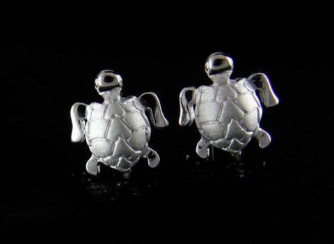 STERLING SILVER 925 HAWAIIAN 10MM SEA TURTLE HONU EARRINGS POST STUD