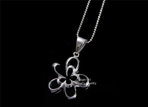 STERLING SILVER 925 SHINY CUT OUT HAWAIIAN PLUMERIA FLOWER OUTLINE PENDANT 20MM
