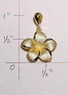 16.5MM SOLID 14K YELLOW GOLD HAWAIIAN PLUMERIA TROPICAL FLOWER PENDANT CHARM