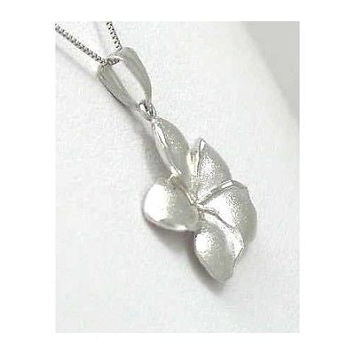 19.5MM 14K SOLID WHITE GOLD HAWAIIAN PLUMERIA TROPICAL FLOWER PENDANT CHARM